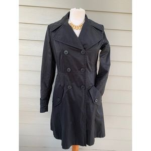 DKNY Black Double Breasted Longline Trench Coat